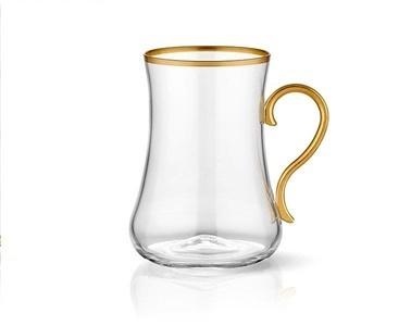Koleksiyon Dervish Kulplu Çay Bardak 6 Lı Klasik Altın Bant Renkli
